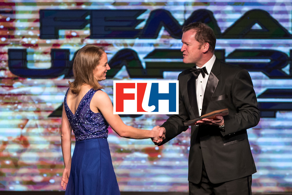 CHANDIGARH, INDIA - FEBRUARY 23: FIH Female Umpiring Award presented to Laurine Delforge [L] of Belgium by Jason McCraken [R], CEO of The International Hockey Federation during the FIH Hockey Stars Awards 2016 at Lalit Hotel on February 23, 2017 in Chandigarh, India. (Photo by Ali Bharmal/Getty Images for FIH)