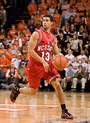 North Carolina State guard Marques Johnson (13) in action against UVA. The Virginia Cavaliers men's basketball team defeated the North Carolina State Wolfpack 78-60 at the John Paul Jones Arena in Charlottesville, VA on February 24, 2008.