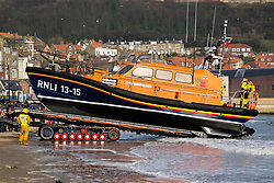 The RNLB Frederick William Plaxton, a Shanon Class Lifeboat, is recovered by her launch and recovery tractor from South Beach Scarborough and returned to the towns Lifeboat house<br /> <br />   17 February 2019<br />   Copyright Paul David Drabble<br />   www.pauldaviddrabble.co.uk The RNLB Frederick William Plaxton, a Shannon Class Lifeboat, is recovered by her launch and recovery tractor from South Beach Scarborough and returned to the towns Lifeboat house<br />