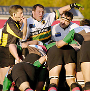 Twickenham. GREAT BRITAIN, Referee Tony SPREADBURY, blows up for and infringment in the scrum, as Steve THOMPSON and Tom SMITH, look on, during the, Guinness Premiership game between, NEC Harlequins and Northamption Saints, on Sat., 04/11/2006, played at the Twickenham Stoop, England. Photo, Peter Spurrier/Intersport-images].....