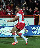 Kevin Larroyer of Hull Kingston Rovers celebrates scoring his try during the First Utility Super League match at Craven Park, Hull<br /> Picture by Richard Gould/Focus Images Ltd +44 7855 403186<br /> 17/04/2014