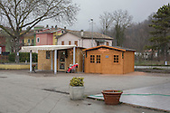 A coffee shop in Pieve Torina. The self constructed building is made by recycled wood panels.