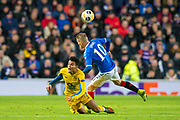 Steven Davis (#10) of Rangers FC fouls Luis Diaz (#7) of FC Porto during the Group G Europa League match between Rangers FC and FC Porto at Ibrox Stadium, Glasgow, Scotland on 7 November 2019.