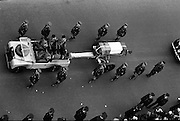 The remains of Roger Casement, Irish Patriot, were removed from the Military Church, Arbour Hill, where they lay in state for 4 days, to the Pro-Cathedral..Roger Casement's coffin on a gun carriage, passing through Westmoreland Street, en route to the Pro-Cathedral..18.02.1965