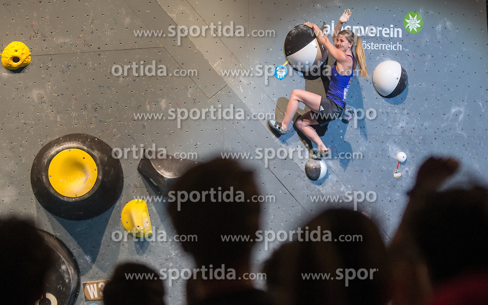 20.05.2016, Olympiaworld, Innsbruck, AUT, ISFC, Climbing World Cup, Finale, im Bild Shauna Coxsey (GBR) // Shauna Coxsey of Great Britan during final of the IISFC Climbing World Cup at the Olympiaworld in Innsbruck, Austria on 2016/05/20. EXPA Pictures © 2016, PhotoCredit: EXPA/ Jakob Gruber