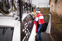 Carmen Small (USA) of Cervélo-Bigla Cycling Team jumps into the warm team car after a chilly podium ceremony after the first, 106.9km road race stage of Elsy Jacobs - a stage race in Luxembourg, in Steinfort on April 30, 2016