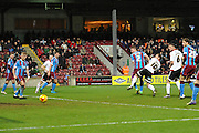 Sheffield United forward Billy Sharp scores goal  for  sheffield united to go 1-0 up  during the Sky Bet League 1 match between Scunthorpe United and Sheffield Utd at Glanford Park, Scunthorpe, England on 19 December 2015. Photo by Ian Lyall.