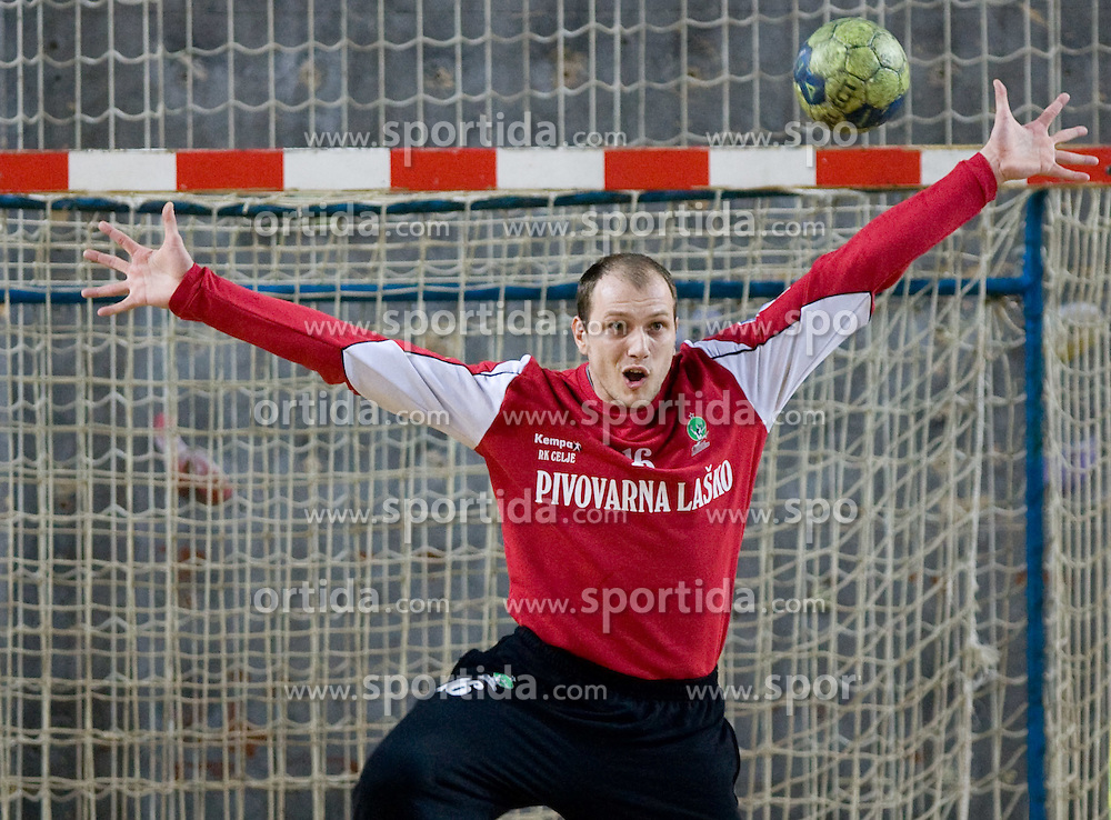 Goalkeeper of Celje Aljosa Rezar at 1st MIK Handball League match between RD Merkur Skofja Loka and RK Celje Pivovarna Lasko, on February 6, 2010 in Arena Poden, Skofja Loka, Slovenia. The teams drew a tie 28:28. (Photo by Vid Ponikvar / Sportida)
