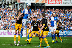 David Clarkson (SCO) of Bristol Rovers heads the ball - Photo mandatory by-line: Rogan Thomson/JMP - 07966 386802 - 03/05/2014 - SPORT - FOOTBALL - Memorial Stadium, Bristol - Bristol Rovers v Mansfield Town - Sky Bet League Two. (Note: Mansfield are wearing a Rovers spare kit having forgotten their own).