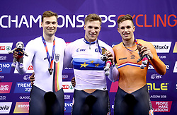 Netherland's Jeffrey Hoogland (centre) celebrates winning Gold alongside Germany's Stefan Botticher with Silver (left) and Netherland's Harrie Lavreysen with Bronze in the Men's Sprint Final during day five of the 2018 European Championships at the Sir Chris Hoy Velodrome, Glasgow.