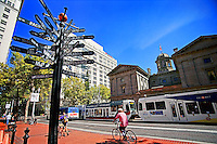 Mileage Sign & Courthouse, Pioneer Courthouse Square (Day)