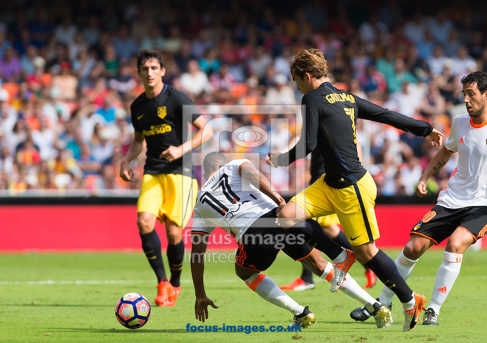 Luis Nani of Valencia CF and Antoine Griezmann of Atletico Madrid during the La Liga match at Mestalla, Valencia<br /> Picture by Maria Jose Segovia/Focus Images Ltd +34 660052291<br /> 02/10/2016