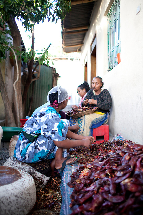 Women cleaning dried Chilis, an ingredient for Berbera spices, Mekelle, Ethiopia