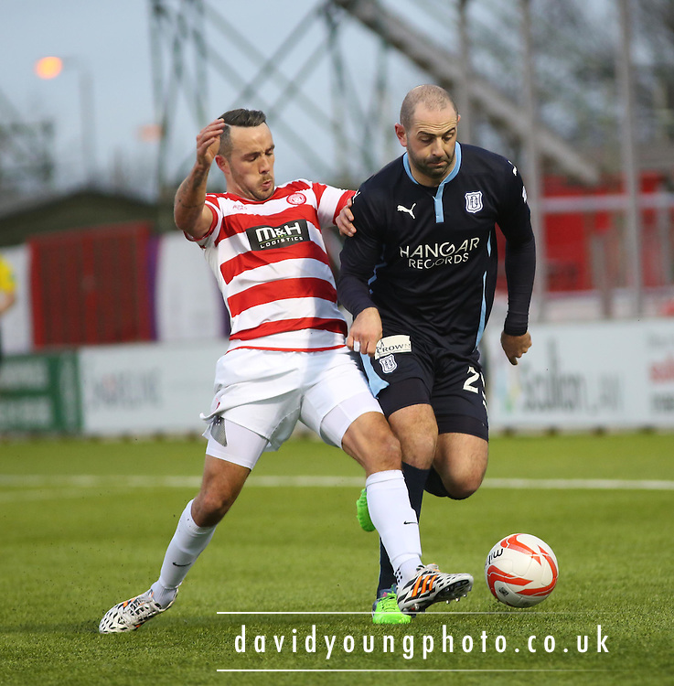 Dundee's Gary Harkins goes past Hamilton's Dougie Imrie -  Hamilton Academical v Dundee, SPFL Premiership at New Douglas Park<br /> <br />  - &copy; David Young - www.davidyoungphoto.co.uk - email: davidyoungphoto@gmail.com
