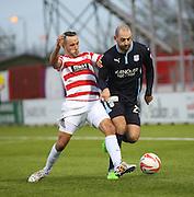 Dundee's Gary Harkins goes past Hamilton's Dougie Imrie -  Hamilton Academical v Dundee, SPFL Premiership at New Douglas Park<br /> <br />  - &copy; David Young - www.davidyoungphoto.co.uk - email: davidyoungphoto@gmail.com