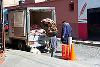 Van delivers meat to a store, Ajijic, Jalisco, Mexico