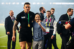 New Zealand replacement Sonny Bill Williams helps up a young boy who is tackled by security after New Zealand win the match 34-17 to become 2015 World Cup Champions. He later gives the boy his World Cup Winners Medal - Mandatory byline: Rogan Thomson/JMP - 07966 386802 - 31/10/2015 - RUGBY UNION - Twickenham Stadium - London, England - New Zealand v Australia - Rugby World Cup 2015 FINAL.