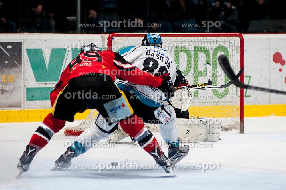 22.03.2016, Ice Rink, Znojmo, CZE, EBEL, HC Orli Znojmo vs EHC Liwest Black Wings Linz, Halbfinale, 5. Spiel, im Bild v.l. Jan Lattner (HC Orli Znojmo), Dan Dasilva (Linz), Jan Lukas (HC Orli Znojmo) // during the Erste Bank Icehockey League 5th semifinal match between HC Orli Znojmo and EHC Liwest Black Wings Linz at the Ice Rink in Znojmo, Czech Republic on 2016/03/22. EXPA Pictures © 2016, PhotoCredit: EXPA/ Rostislav Pfeffer