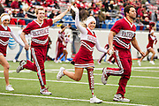 LITTLE ROCK, ARKANSAS - NOVEMBER 23:  Arkansas Razorbacks cheerleader Patience Beard with her new Go Hogs prosthetic leg runs onto the field before a game against the Mississippi State Bulldogs at War Memorial Stadium on November 23, 2013 in Little Rock, Arkansas.  The Bulldogs defeated the Razorbacks 24-17.  (Photo by Wesley Hitt/Getty Images) *** Local Caption *** Patience Beard