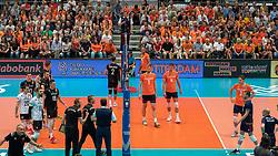 10-08-2019 NED: FIVB Tokyo Volleyball Qualification 2019 / Belgium - Netherlands, Rotterdam<br /> Third match pool B in hall Ahoy between Belgium vs. Netherlands (0-3) for one Olympic ticket / Discuss Coach Brecht van Kerckhove of Belgium, centercourt