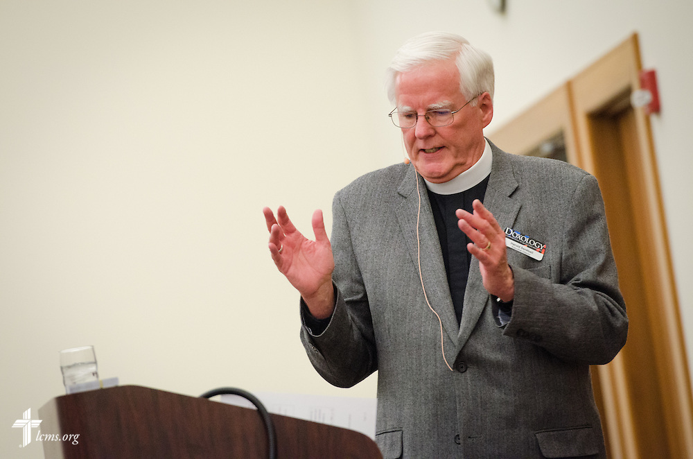 The Rev. Dr. Harold Senkbeil, executive director for spiritual care, leads a discussion at the DOXOLOGY Encore event on Friday, Feb. 21, 2014, in Springfield, Ill. LCMS Communications/Erik M. Lunsford