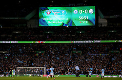 A message is shown on screen as Manchester City's Sergio Aguero has his goal checked using VAR before ruling it offside during the Carabao Cup Final at Wembley Stadium, London.