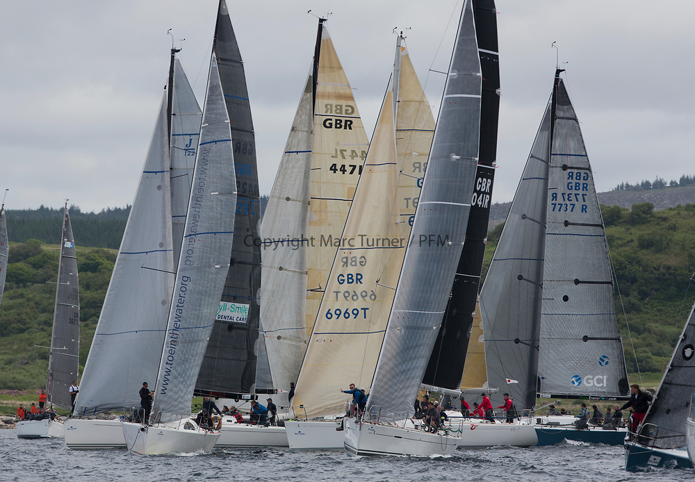 Silvers Marine Scottish Series 2017<br /> Tarbert Loch Fyne - Sailing Day 3<br /> <br /> Class One start with GBR4041R, Forty Licks, Jay Colville, East Down YC, First 40, GBR1429L, Warrior, Ross Fullarton, CBSC, Archambault, A40RC