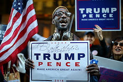 © Licensed to London News Pictures. 07/11/2016. New York CIty, USA. Donald Trump and Republican supporters campaign outside Trump Tower in New York City on Monday, 7 November, the day before the presidential election day in the United States of America. Photo credit: Tolga Akmen/LNP