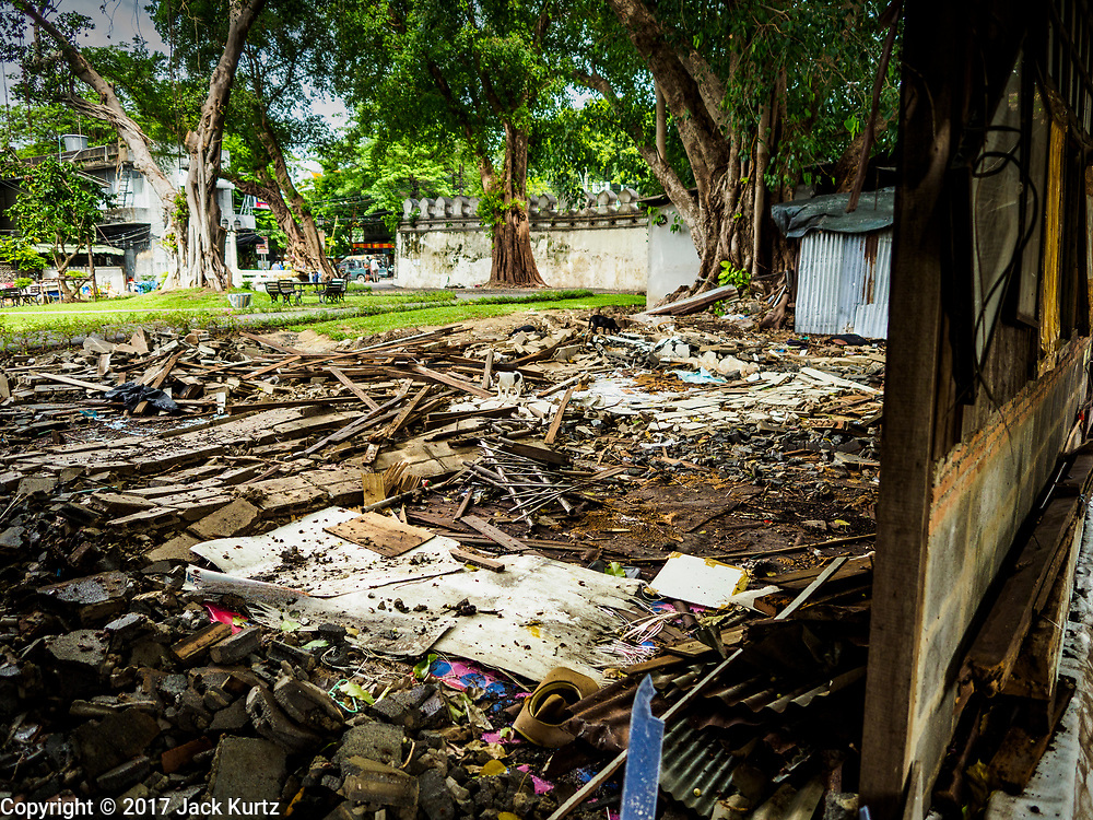 07 JUNE 2017 - BANGKOK, THAILAND:   The remains of a home torn down by city officials in Pom Mahakan. Bangkok city officials are expected to tear the structure down in coming weeks. The final evictions of the remaining families in Pom Mahakan, a slum community in a 19th century fort in Bangkok, have started. City officials are moving the residents out of the fort. NGOs and historic preservation organizations protested the city's action but city officials did not relent and started evicting the remaining families in early March.         PHOTO BY JACK KURTZ