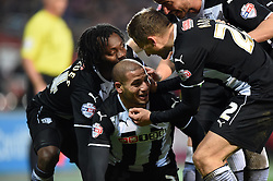 Watford players celebrate Adlene Guedioura's second goal against Cardiff City - Photo mandatory by-line: Paul Knight/JMP - Mobile: 07966 386802 - 28/12/2014 - SPORT - Football - Cardiff - Cardiff City Stadium - Cardiff City v Watford - Sky Bet Championship