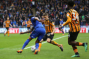 Hull City midfielder Markus Henriksen (22) comes to tackle Cardiff City midfielder Nathaniel Mendez Laing (19)  during the EFL Sky Bet Championship match between Hull City and Cardiff City at the KCOM Stadium, Kingston upon Hull, England on 28 April 2018. Picture by Mick Atkins.