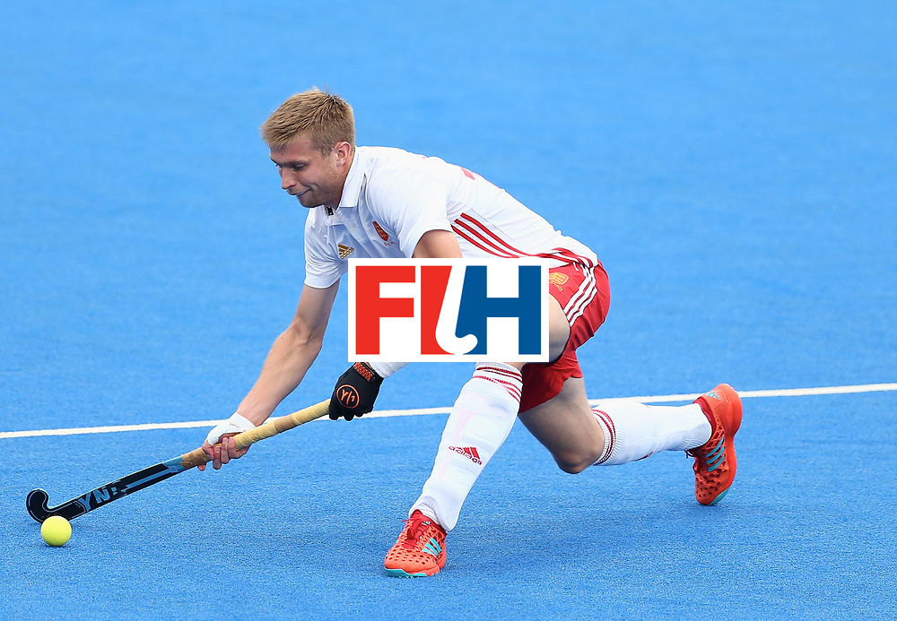 LONDON, ENGLAND - JUNE 24:  Brendan Creed of England in action during the semi-final match between England and the Netherlands on day eight of the Hero Hockey World League Semi-Final at Lee Valley Hockey and Tennis Centre on June 24, 2017 in London, England.  (Photo by Steve Bardens/Getty Images)