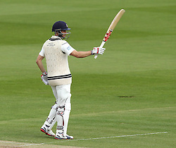 Middlesex's Josh Simpson lifts his bat after bringing up his fifty - Photo mandatory by-line: Robbie Stephenson/JMP - Mobile: 07966 386802 - 03/05/2015 - SPORT - Football - London - Lords  - Middlesex CCC v Durham CCC - County Championship Division One