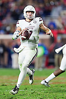 OXFORD, MS - NOVEMBER 26:  Nick Fitzgerald #7 of the Mississippi State Bulldogs runs the ball during a game against the Mississippi Rebels at Vaught-Hemingway Stadium on November 26, 2016 in Oxford, Mississippi.  The Bulldogs defeated the Rebels 55-20.  (Photo by Wesley Hitt/Getty Images) *** Local Caption *** Nick Fitzgerald