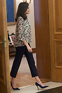 Queen Letizia of Spain attends an audience with the Board of Directors of Atresmedia at Zarzuela Palace on February 25, 2020 in Madrid, Spain