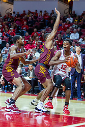 NORMAL, IL - January 19: Antonio Reeves bounces around the defense of Keith Clemons during a college basketball game between the ISU Redbirds and the Loyola University Chicago Ramblers on January 19 2020 at Redbird Arena in Normal, IL. (Photo by Alan Look)