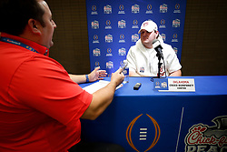 Creed Humphrey #56 of the Oklahoma Sooners speaks with the media at Media Day on Thursday, Dec. 26, in Atlanta. LSU will face Oklahoma in the 2019 College Football Playoff Semifinal at the Chick-fil-A Peach Bowl. (Jason Parkhurst via Abell Images for the Chick-fil-A Peach Bowl)