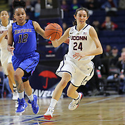 Briana Pulido, UConn, in action during the UConn Vs DePaul, NCAA Women's College basketball game at Webster Bank Arena, Bridgeport, Connecticut, USA. 19th December 2014