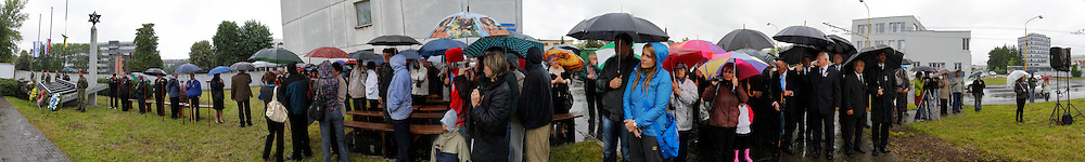 A Panoramic image during a memorial service at the site of the deportation center in Zilina that was used during the Holocaust in Zilina, Slovakia on Sunday July 3rd 2011. (Photo by Brian Garfinkel)