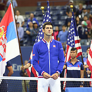Novak Djokovic, Serbia, at the trophy presentation after winning the Men's Singles Final against Roger Federer, Switzerland, during the US Open Tennis Tournament, Flushing, New York, USA. 13th September 2015. Photo Tim Clayton
