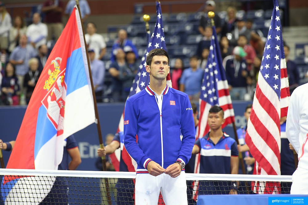 Novak Djokovic, Serbia, at the trophy presentation after winning the Men's Singles Final against Roger Federer, Switzerland, during the US Open Tennis Tournament, Flushing, New York, USA. 13th September 2015. Photo Tim Clayton