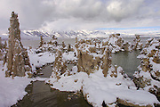 Mono Lake, California. Tufa formations with December snow. Christmas road trip from Napa, California to Sedona, Arizona and back.