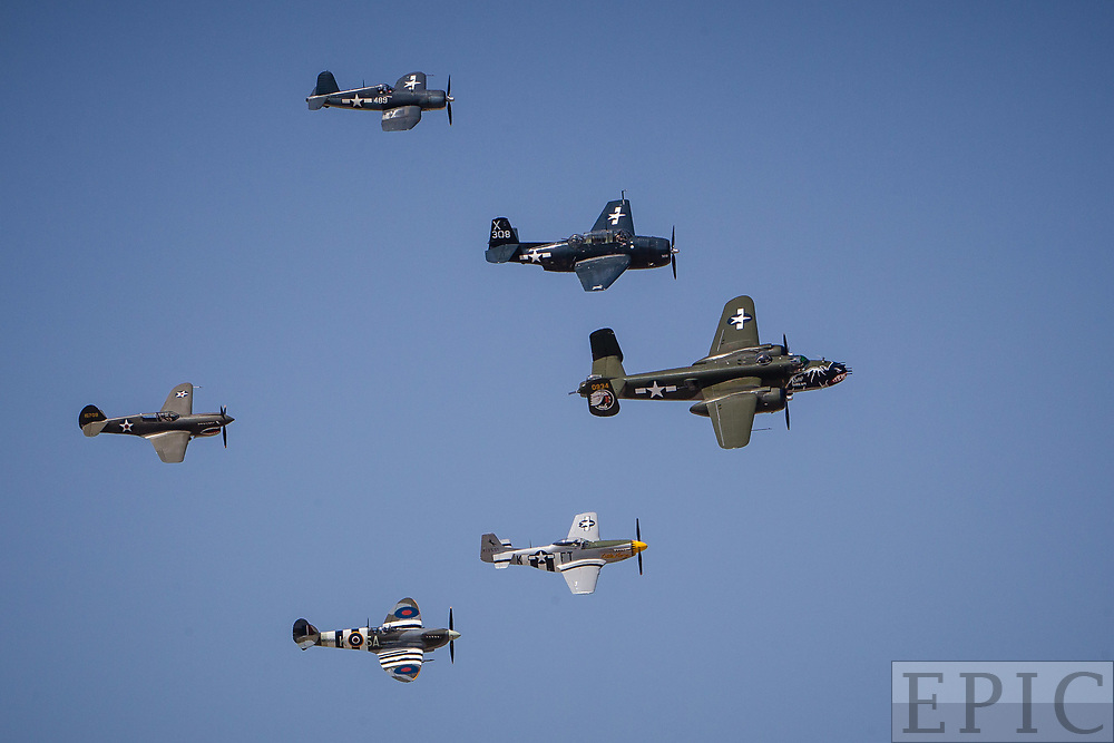 RENO, NV - SEPTEMBER 17: The Texas Flying Legends Museum performs a flyover on the final day of the Reno Championship Air Races on September 17, 2017 in Reno, Nevada. (Photo by Jonathan Devich/Getty Images) *** Local Caption ***