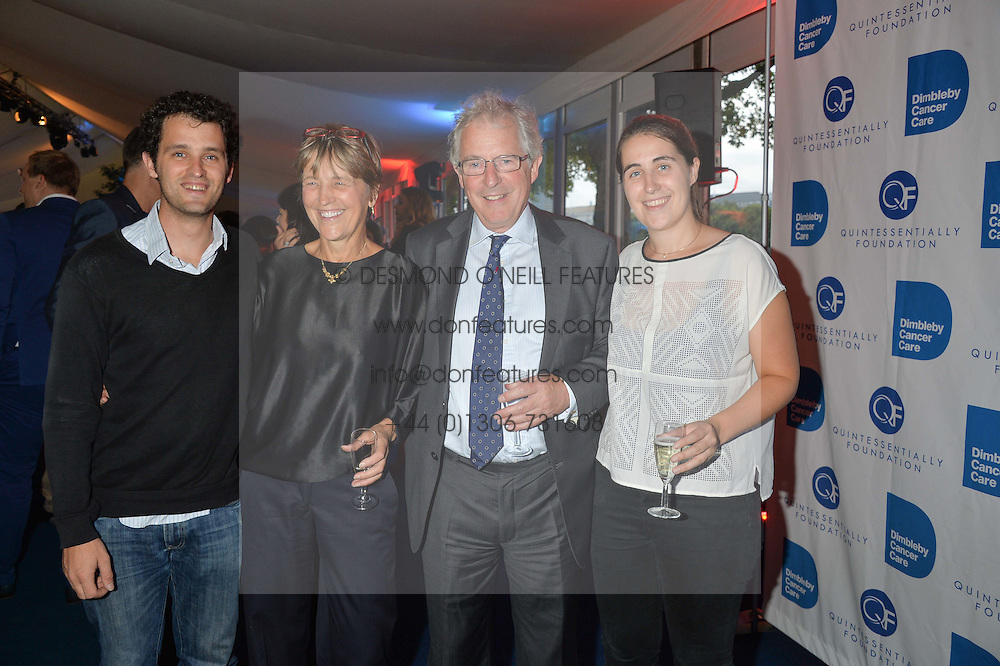 Left to right, the HON.JAMIE WALDEGRAVE, LORD & LADY WALDEGRAVE and the HON.HARRIET WALDEGRAVE at the World's Greatest Quiz Night in aid of the Quintessentially Foundation and Dimbleby Cancer Care held at the Riverside Parliament Panorama marquee at St Thomas' Hospital, Westminster Bridge Road, Londonon 15th September 2015.