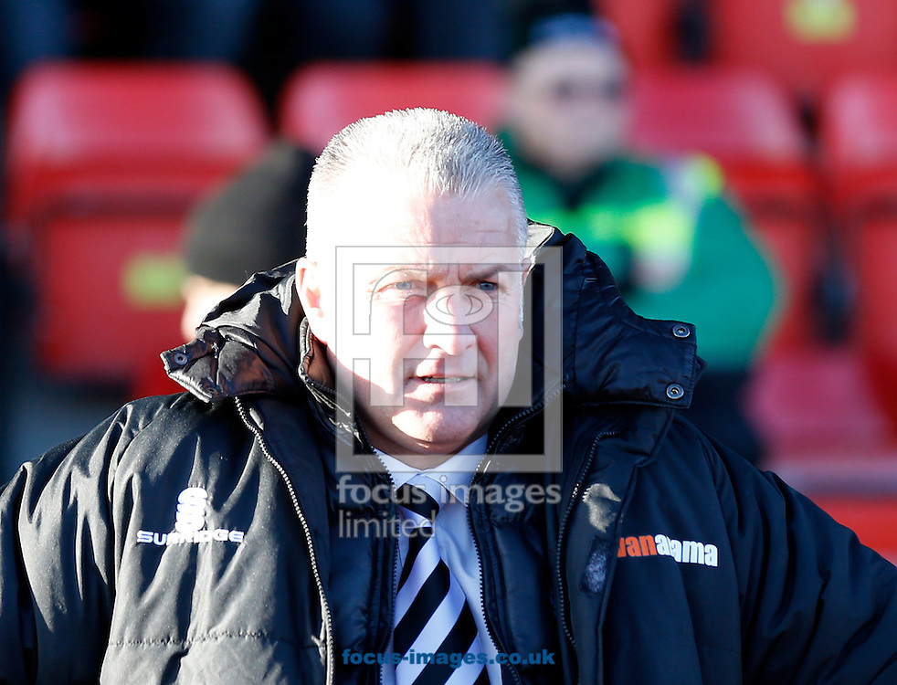 Gateshead FC manager Gary Mills prior to the The FA Cup match at Gateshead International Stadium, Gateshead<br /> Picture by Simon Moore/Focus Images Ltd 07807 671782<br /> 07/12/2014