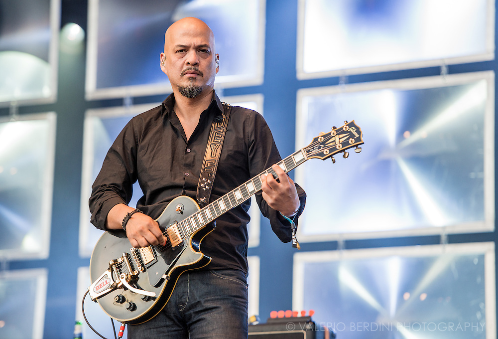 Joey Santiago of Pixies close Field Day festival in London Victoria Park on 8 June 2014