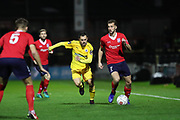 York City midfielder Lewis Hawkins (7) looks for support during the Vanarama National League match between York City and Chester FC at Bootham Crescent, York, England on 13 November 2018.