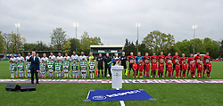NEWTOWN, WALES - Saturday, May 2, 2015: The New Saints and Newtown players line-up before the FAW Welsh Cup final match at Latham Park. (Pic by Ian Cook/Propaganda)