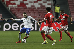 December 5, 2017 - Lisbon, Portugal - Basel's midfielder Renato Steffen (L) vies for the ball with Benfica's defender Eliseu  (C) and Benfica's forward Diogo Goncalves (R)  during Champions League 2017/18 match between SL Benfica vs FC Basel, in Lisbon, on December 5, 2017. (Credit Image: © Carlos Palma/NurPhoto via ZUMA Press)