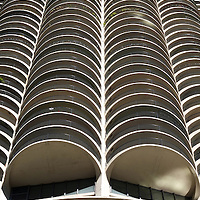 A Marina City building in downtown Chicago, Illinois.